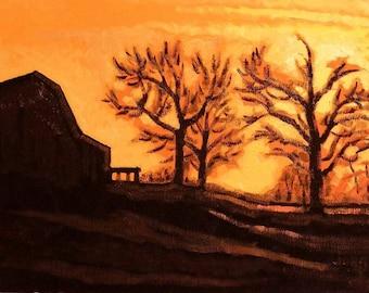 Farm At Sundown, Original Realistic Oil Painting, Landscape, Calming