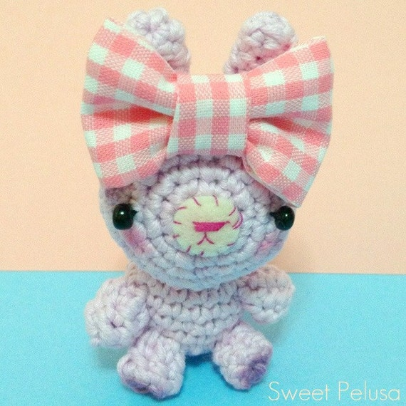 Amigurumi Bunny . Crocheted Blythe pet. Miniature