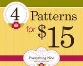 4 Everything Nice PDF Sewing Patterns (32-dollar value)