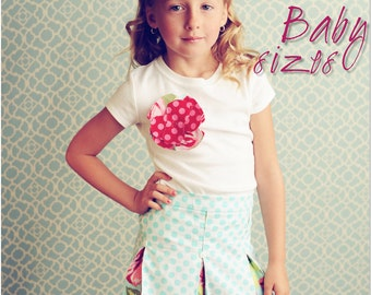 Schoolgirl Pleated Skirt PDF Pattern Tutorial, Baby Girl newborn through 18 months