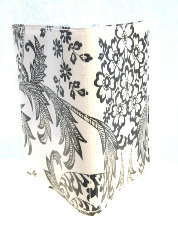 Mexican Oilcloth Passport Cover Black and White Lace