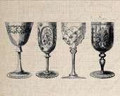 Crystal Goblet Digital Download  for Iron on Transfer Collection  A