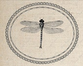Digital Download Iron on Transfer Framed Dragonfly
