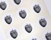 Strawberry Stickers One Inch Round Seals