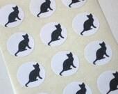 Black Cat Silhouette Stickers - One Inch Round Seals