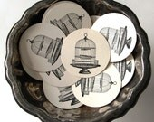 Bird Cage on Stand Tags Round Gift Tags Set of 10