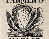 Cabbage Lettuce Farmer's Market Digital Download Iron on Transfer