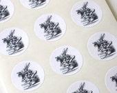 Alice In Wonderland Rabbit Stickers - One Inch Round Seals