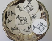 Donkey Burro Tags Round Gift Tags Set of 10