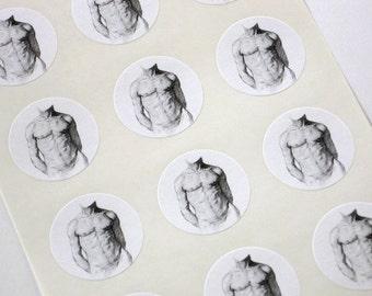 Male Torso Stickers One Inch Round Seals
