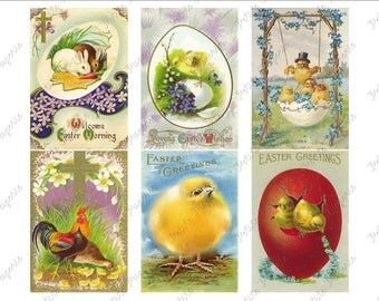 Vintage Easter Postcards Digital Download Collage Sheet G 2.75 x 4 inch