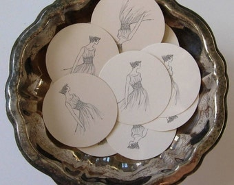 Vintage Bride Tags Round Paper Gift Tags Set of 10