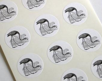Flamingo Stickers - One Inch Round Seals