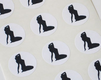 Pin-Up Girl Stickers One Inch Round Seals