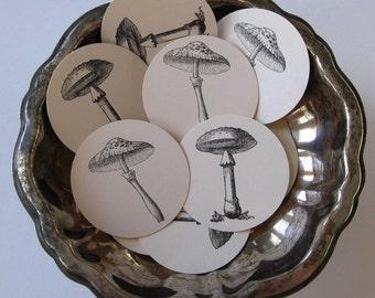 Mushroom Tags Round Gift Tags Set of 10
