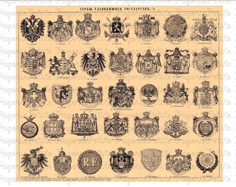 Vintage Crests and Heraldry Digital Download Collage Sheet