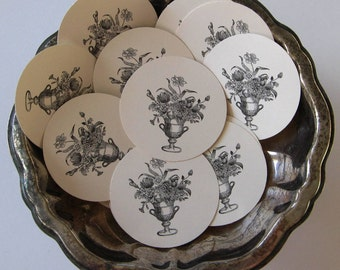 French Flower Tags Round Gift Tags Set of 10