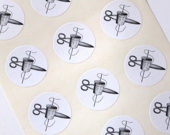 Sewing Stickers Scissors, Thimble, Thread One Inch Round Seals