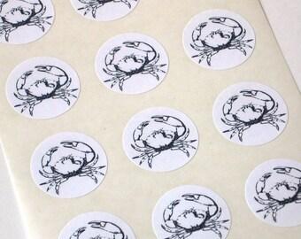 Crab Stickers - One Inch Round Seals - Set of 12