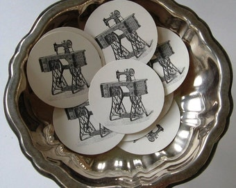 Sewing Machine Tags Round Gift Tags Set of 10
