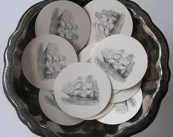 Sailing Ship Tags Round Gift Tags Set of 10