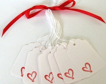 Red Heart Tags Hand Stamped Gift Tags Set of 10