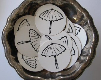Umbrella Tags Round Paper Gift Tags Set of 10