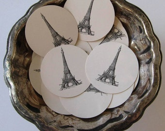 Eiffel Tower Tags Round Gift Tags Set of 10