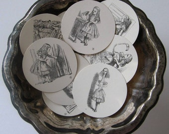Alice of Wonderland Tags Round Gift Tags Set of 10