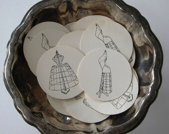 Vintage Dress Form Tags Round Gift Tags Set of 10