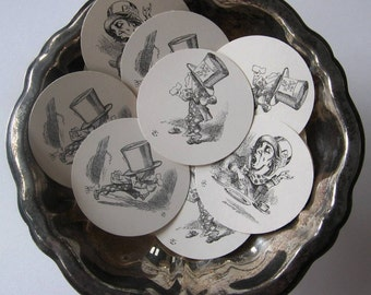 Mad Hatter Tags Round Paper Gift Tags Set of 10