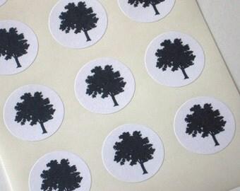 Tree Silhouette Stickers - One Inch Round Seals