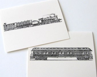 Train Note Cards Stationery Set of 4 Cards