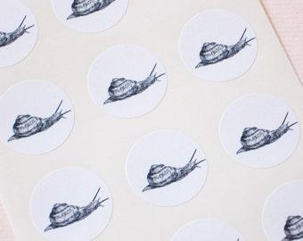 Snail Stickers - One Inch Round Seals