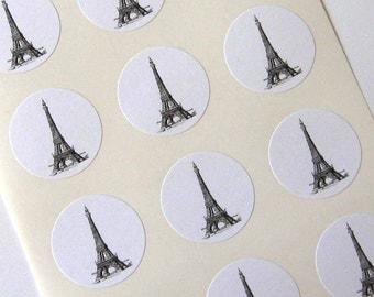 Eiffel Tower Stickers One Inch Round Seals