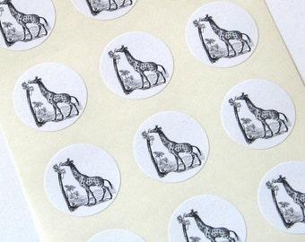 Giraffe Stickers - One Inch Round Seals