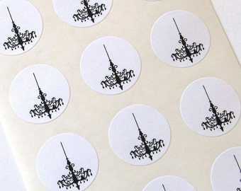Chandelier Stickers One Inch Round Seals