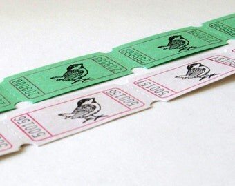 Bird Carnival Tickets Hand Stamped Set 12