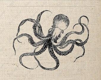 Octopus Digital Download Iron on Transfer