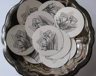 Alice in Wonderland Alice Tags Round Paper Gift Tags Set of 10