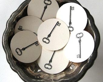 Skeleton Key Tags Round Gift Tags Set of 10