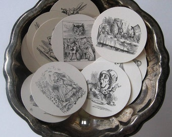 Alice in Wonderland Tags Round Gift Tags Set of 10