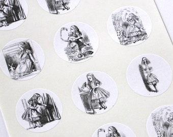 Alice of Wonderland Stickers One Inch Round Seals