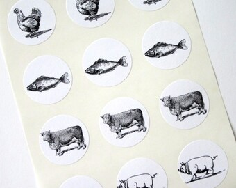 Wedding Response Cards Food Choice Stickers One Inch Seals