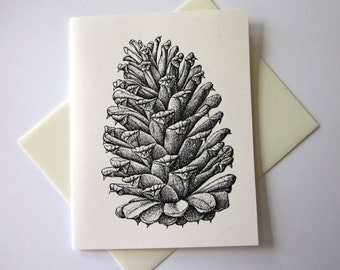 Pine Cone Note Cards Stationery Set of 10 Cards
