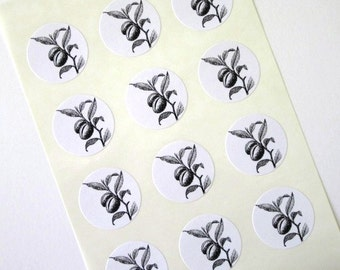 Almond Plant Stickers One Inch Round Seals