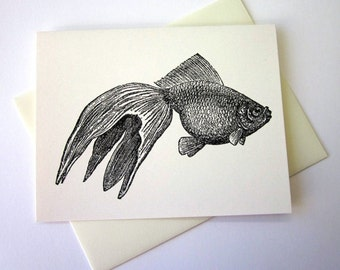 Goldfish Note Cards Stationery Set of 10 Cards
