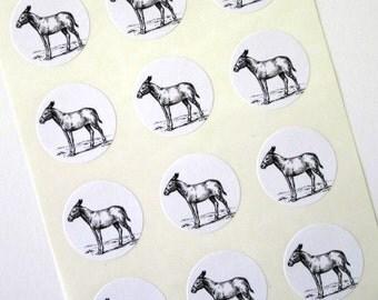 Donkey Burro Stickers One Inch Round Seals