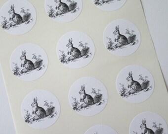 Rabbit Bunny Stickers One Inch Round Seals