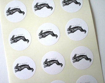 Hare Rabbit Bunny Stickers One Inch Round Seals